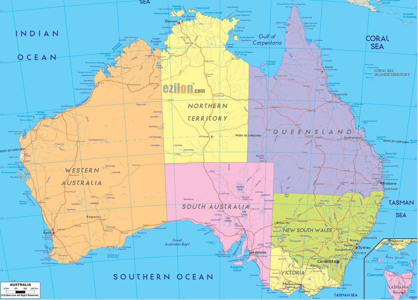 Australia Mapa Polityczna Mapa Polityczna Australii Australia I