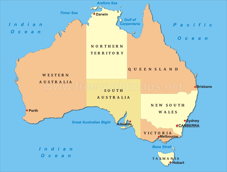 Mapa Polityczna Australii Australia Mapa Polityczna Australia I